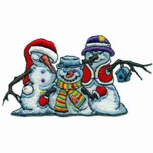 Christmas - Cute Holiday Snowmen Patch Applique
