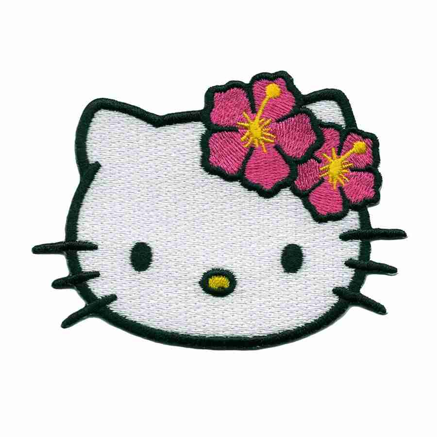 a3f2e07d3 Hello Kitty Face with Pink Hibiscus Flowers Iron On Patch Applique