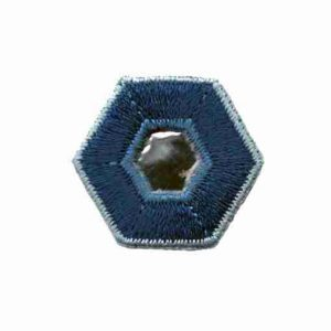 Dark and Light Blue Hexagon with Mirror Center Iron On Patch