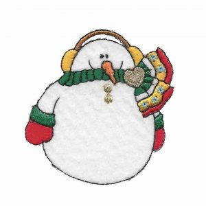 Pudgy Snowman Iron on Patch