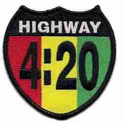 Highway 420 Rasta Highway Shield Badge
