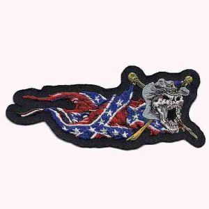 Yankee Rebel Skull Confederate flag patch