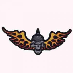 Fire Winged skull patch wearing a German army helmet