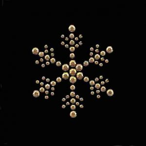 large gold rhinestud snowflake hot fix design