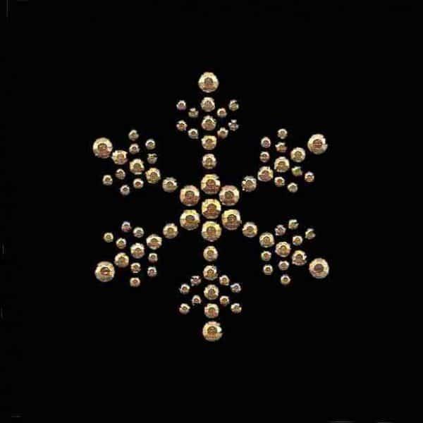 large gold rhinestud snowflake hot fix design