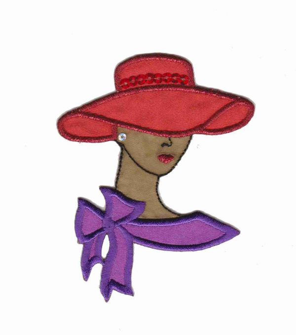 Tan Red Hat Lady Applique with Sequins in Small