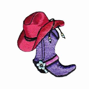 Red Hat Lady Cowgirl Boot and Hat Iron On Applique