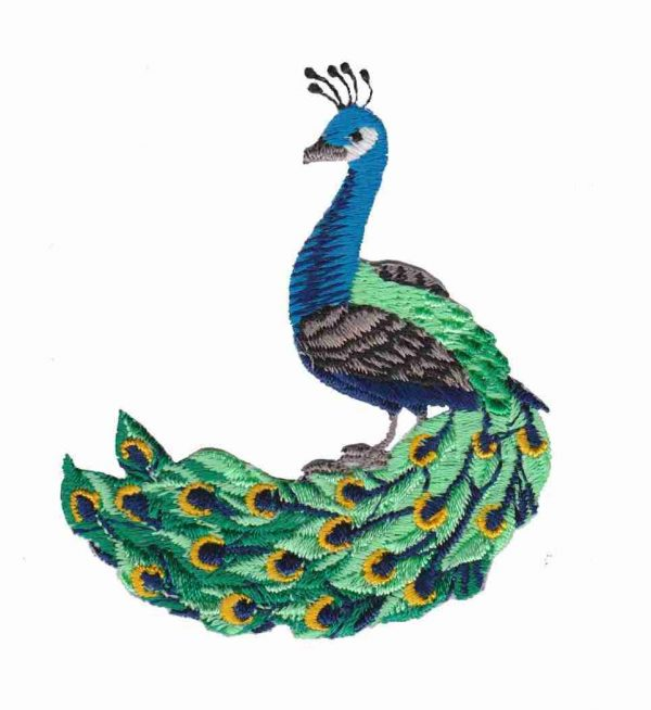 Small Peacock Iron On Avian Applique