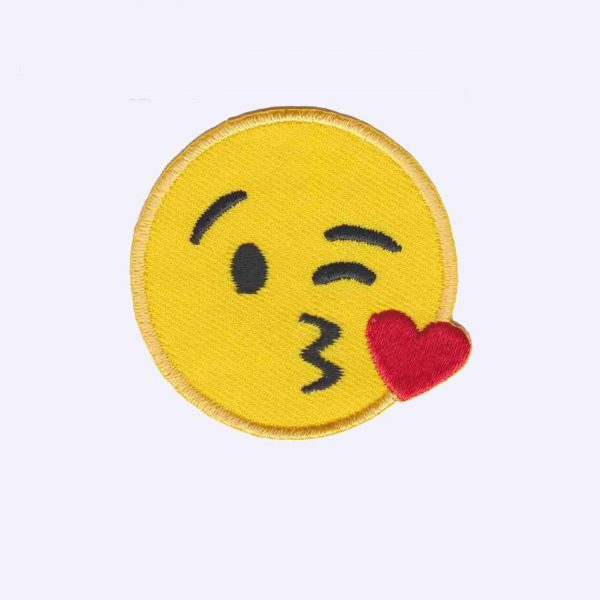 Blowing a kiss emoji patch sticker