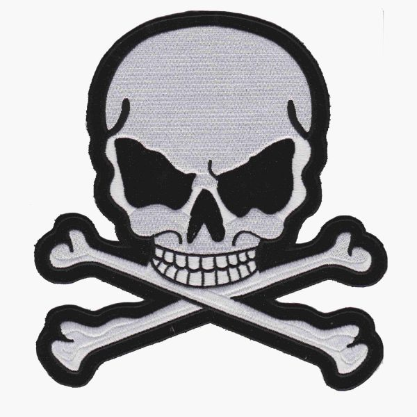 Large Skull and Crossbones Embroidered backpatch in White Iron On or sew on Patches