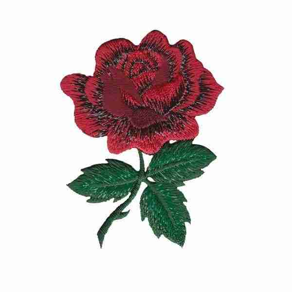 Sparkling Red Rose Patch With Stem Embroidered Applique