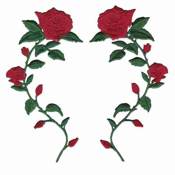 Both of the Red Rose Patches together 404-RT and 404-LT