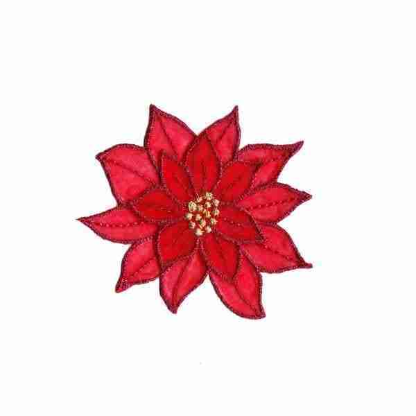 Christmas Sparkly Layered Red Poinsettia Iron on Patch
