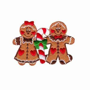 Christmas Gingerbread Couple Iron on Applique