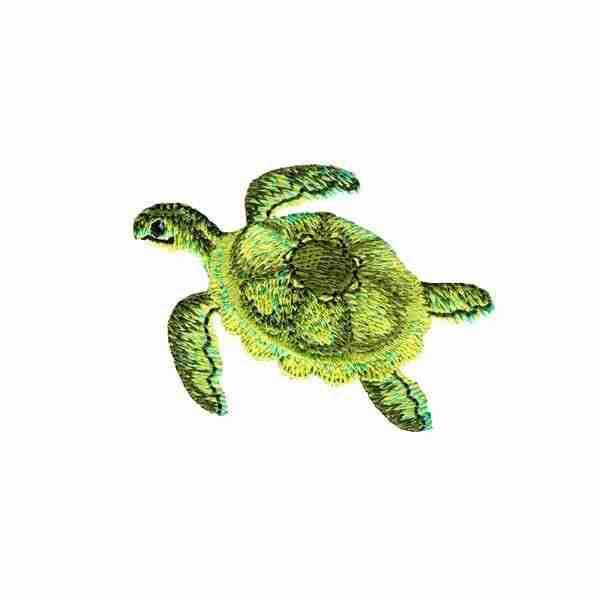 Realistic Green Sea Turtle Iron on Applique