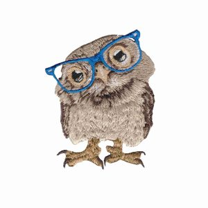 Iron on Patch Animal Owl with Glasses | LaughingLizards.com