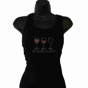 Going Going Gone Wine rhinestud Tank top